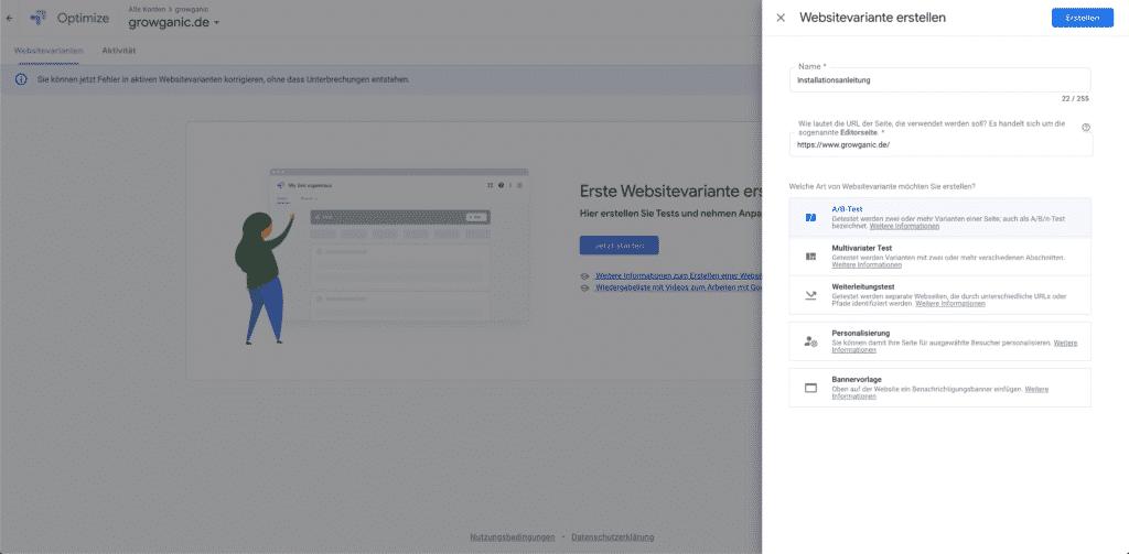 google optimize installation ueberpruefen