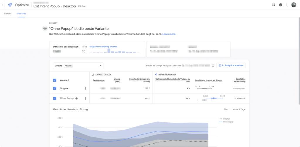Auswertung AB Test mit Google Optimize