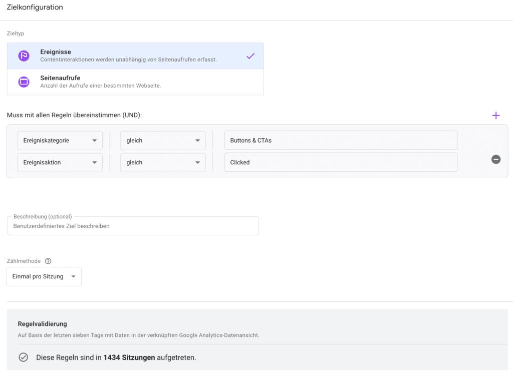 Benutzerdefinierte Ziele für den AB Test in Google Optimize festlegen