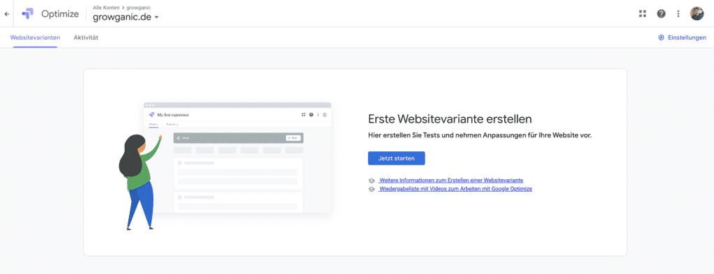AB Test mit Google Optimize - Das Dashboard
