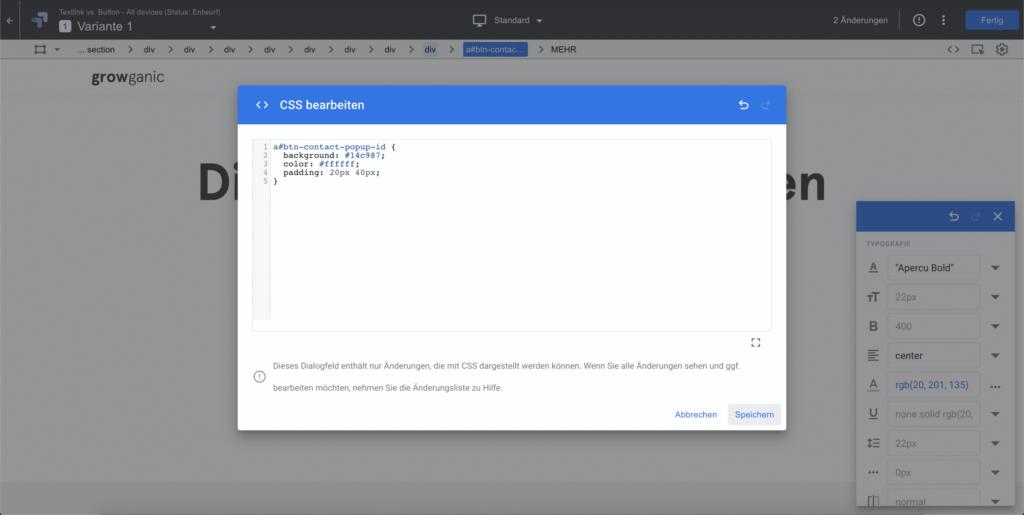 Google Optimize CSS Editor - Visuelle Anpassungen direkt vornehmen