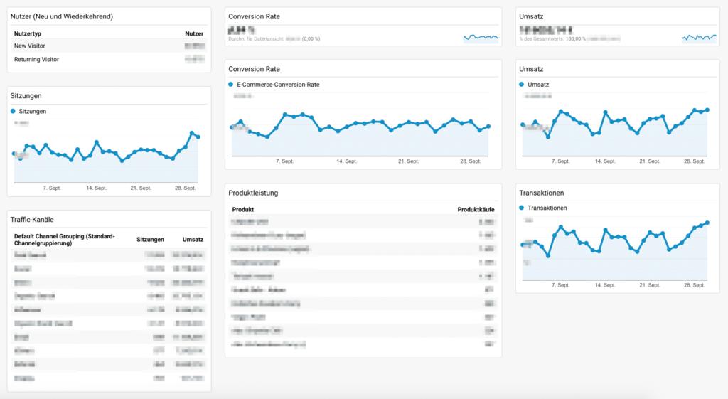 Google Analytics Dashboard für Shopify