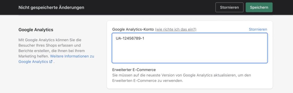 google analytics tracking zu shopify zufuegen