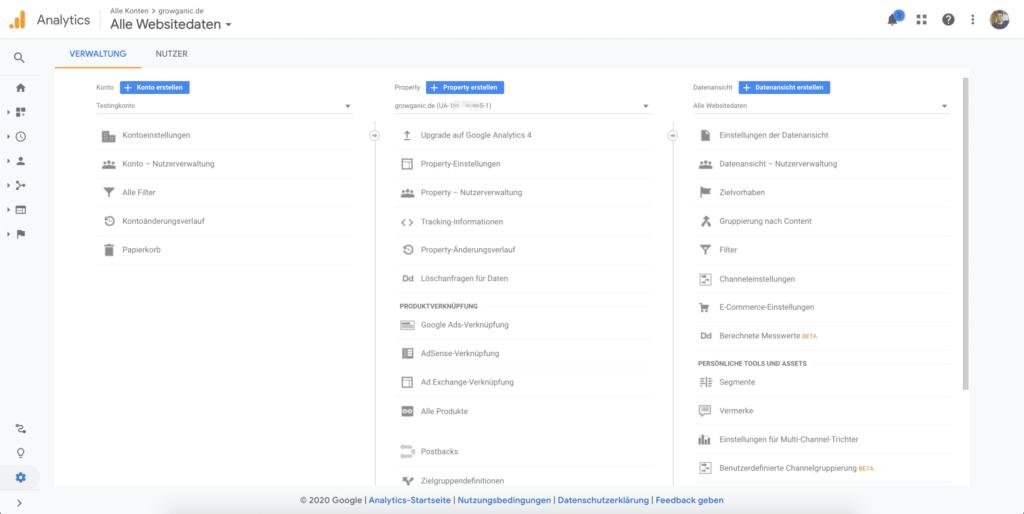 google analytics verwaltungsuebersicht