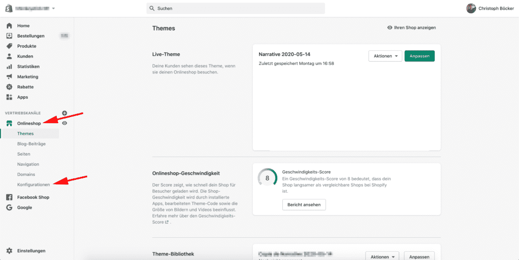 shopify backend onlineshop konfigurationen