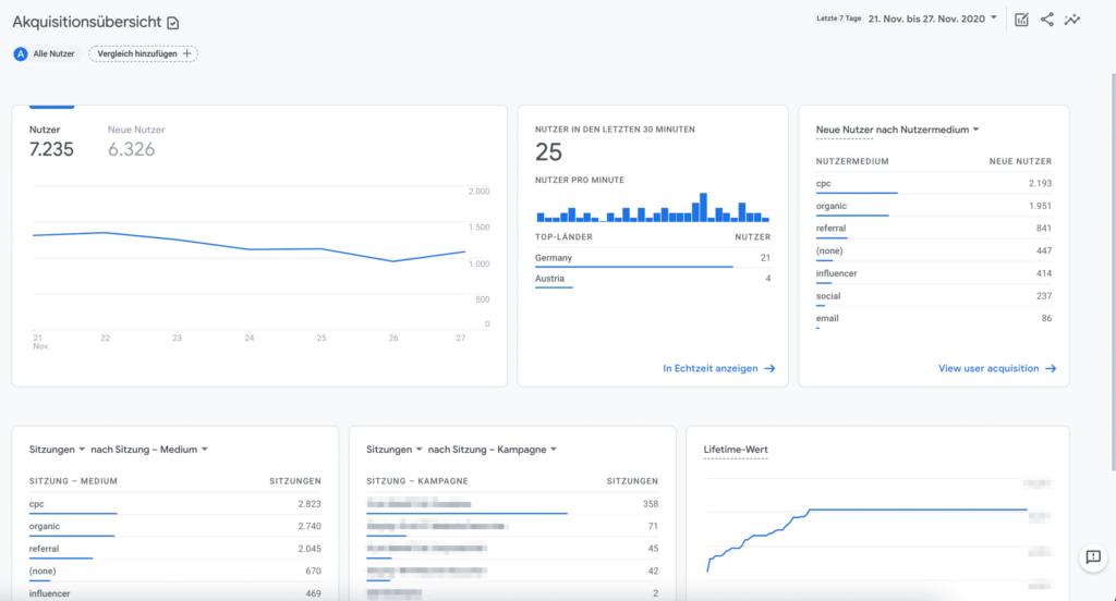 Der Bericht zur Akquisiton in Google Analytics 4
