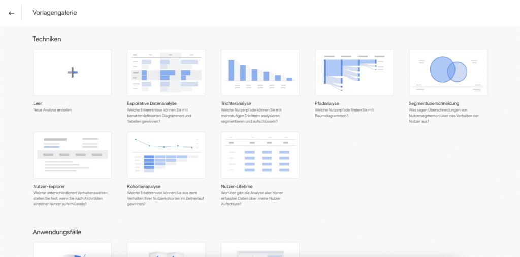 Die Vorlagen-Galerie in Google Analytics 4
