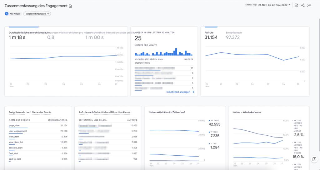 Engagement in Google Analytics 4 sehen