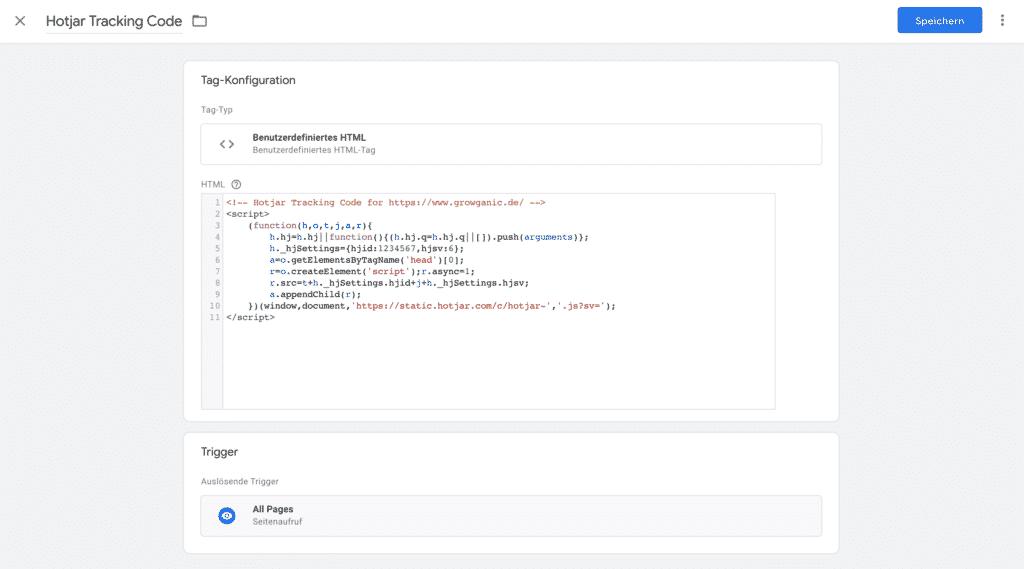 hotjar benutzerdefiniertes html tag google tag manager