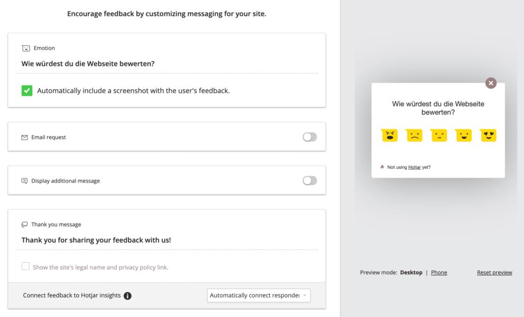 hotjar visuelles feedback konfigurationen