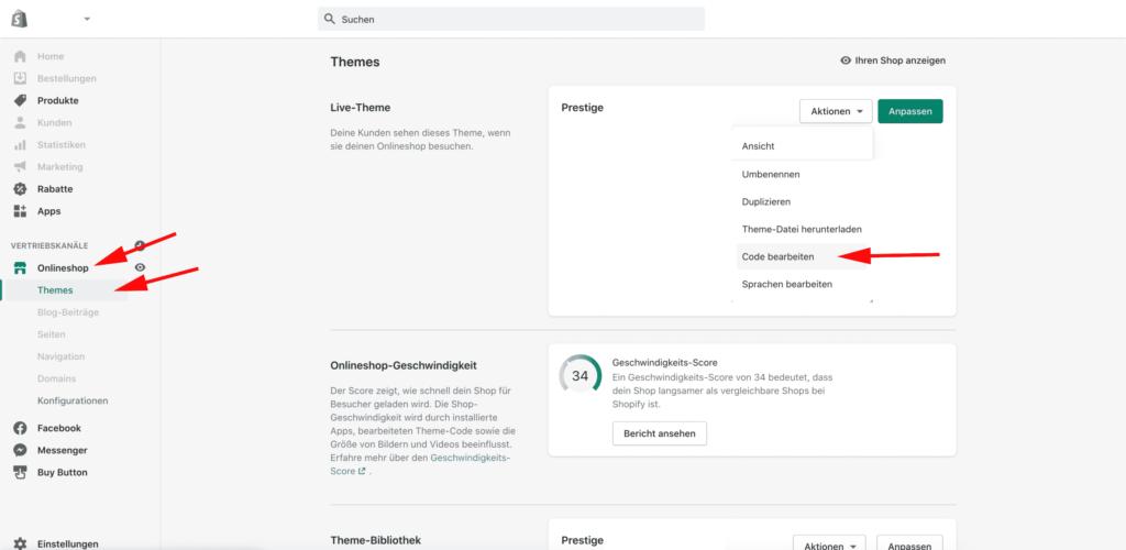 Shopify Theme Code-Editor öffnen
