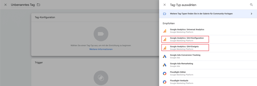 Neue Tags für Google Analytics 4