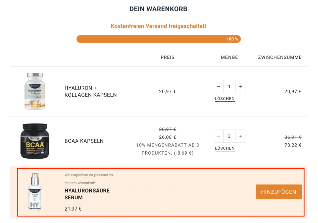 upsell im warenkorb zur conversion optimierung im online shop.ong