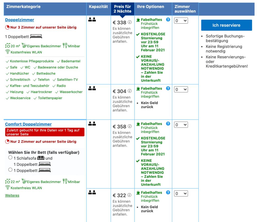 Behavior Patterns wie Scarcity auf booking.com