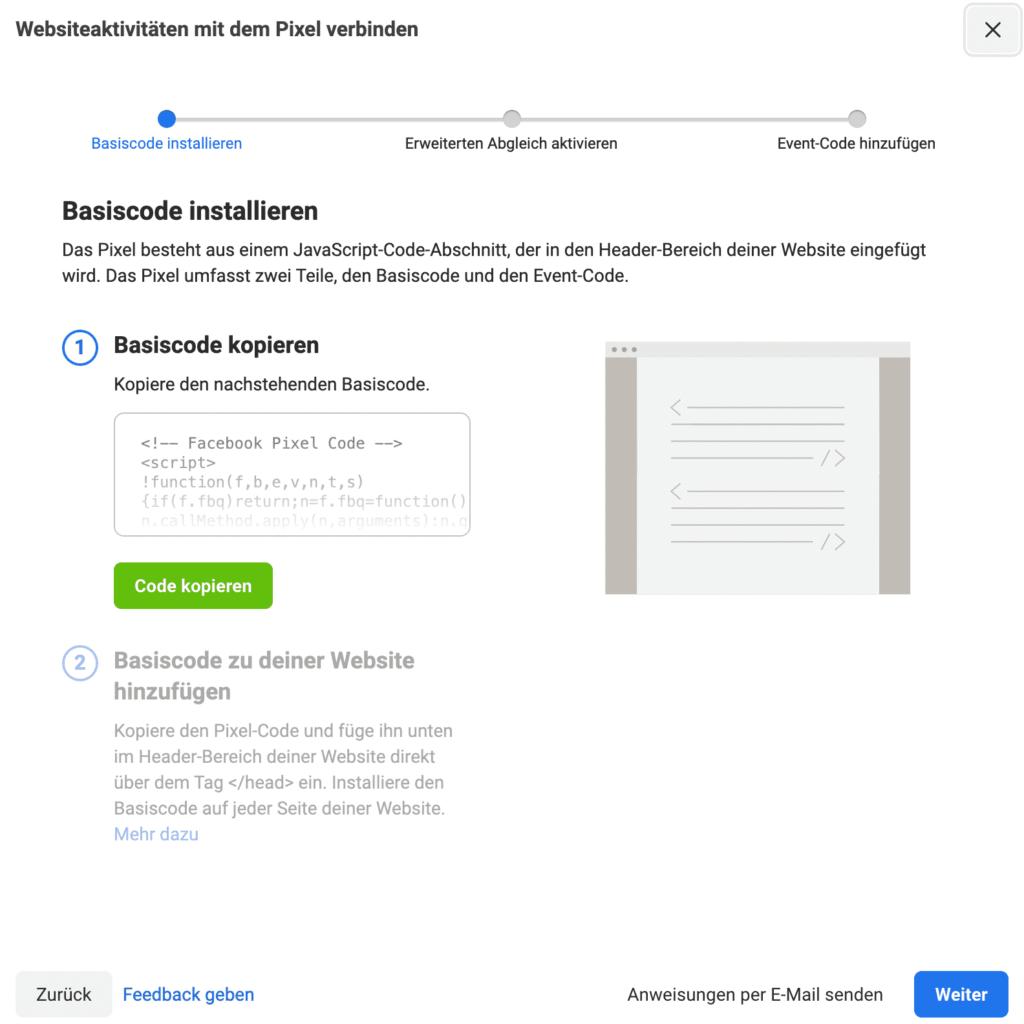 Facebook Pixel: Code manuell installieren