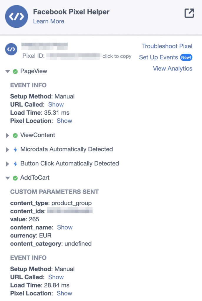 Facebook Pixel Events im Facebook Pixel Helper