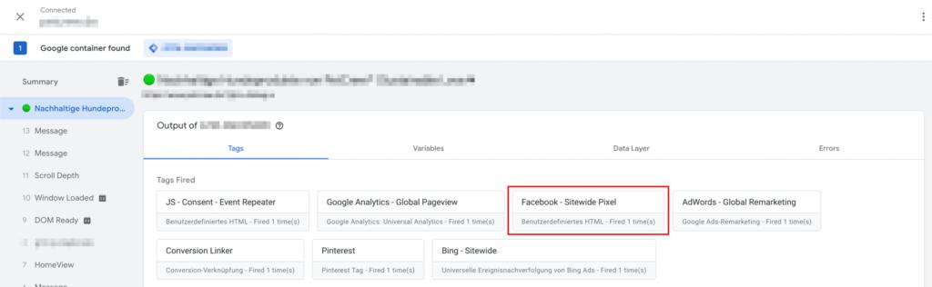 Facebook Pixel im Google Tag Manager Debugger