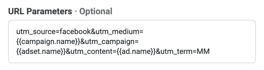 Dies sind die URL Parameter, mit denen wir unsere Facebook Kampagnen tracken.