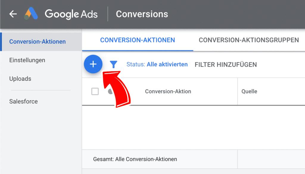 Neue Conversion-Aktion in Google Ads zufügen