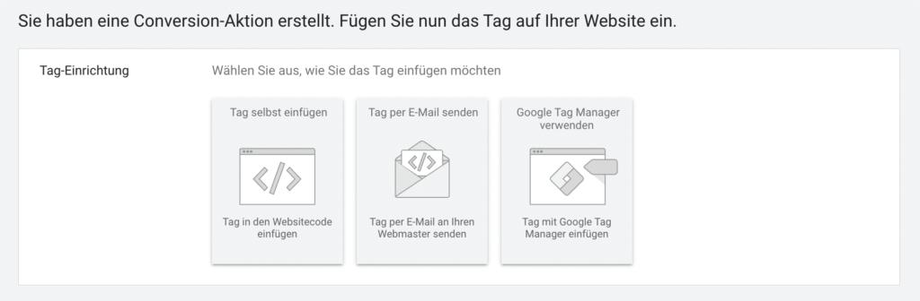 Conversion Tracking von Google Ads auf der Webseite bereitstellen
