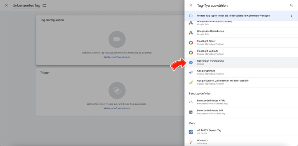 Conversion-Verknüpfung Tag im Google Tag Manager
