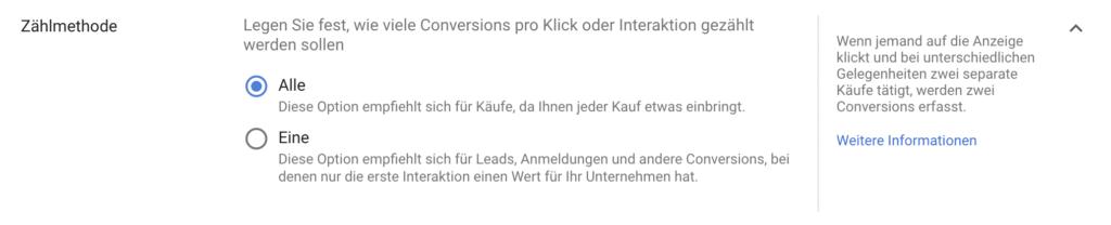 Zählmethode von Conversions in Google Ads