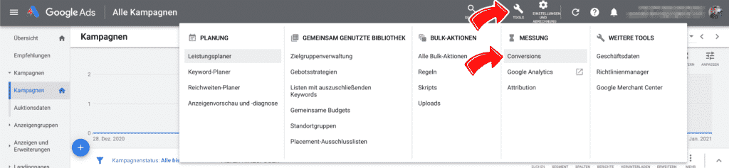 Conversion Tracking in Google Ads finden