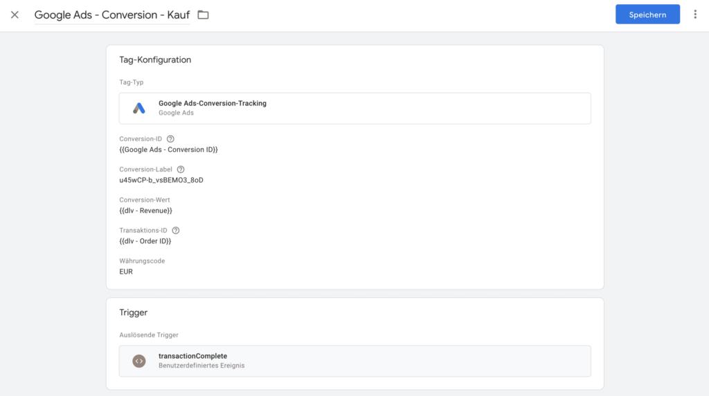 Der Conversion Tracking Tag für einen Kauf im Google Tag Manager