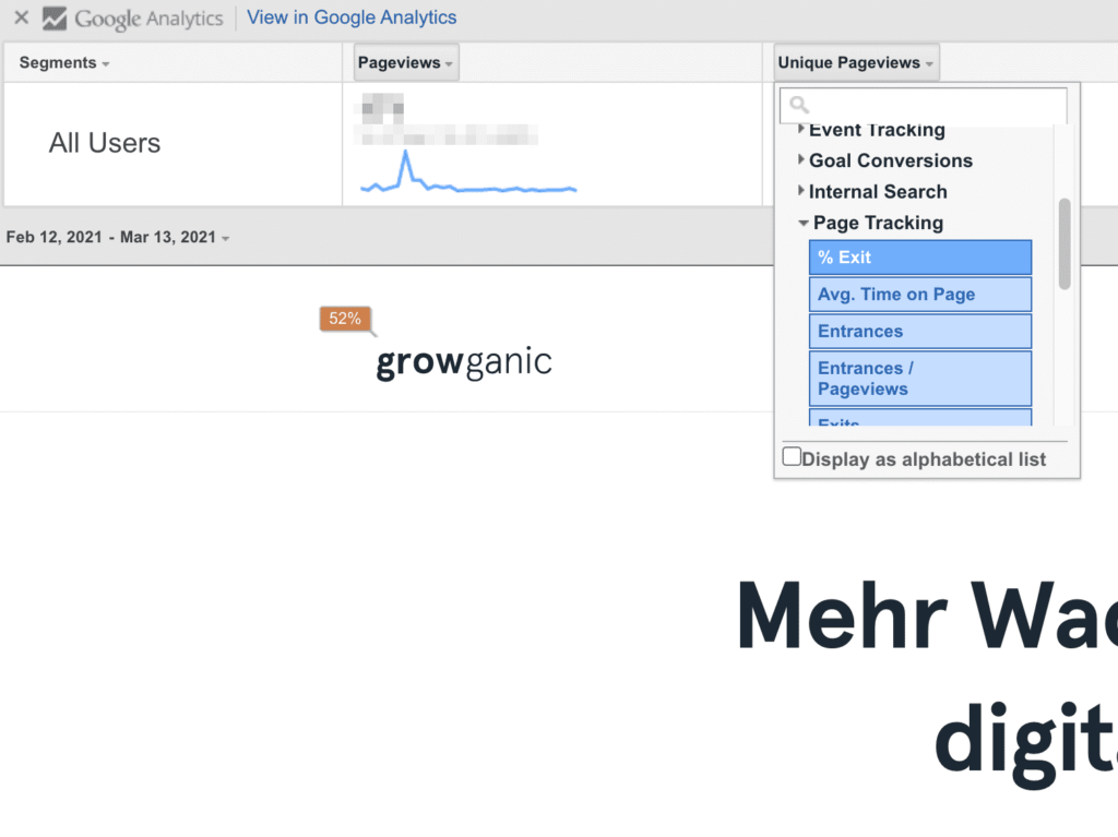 Metriken in Page Analytics ändern