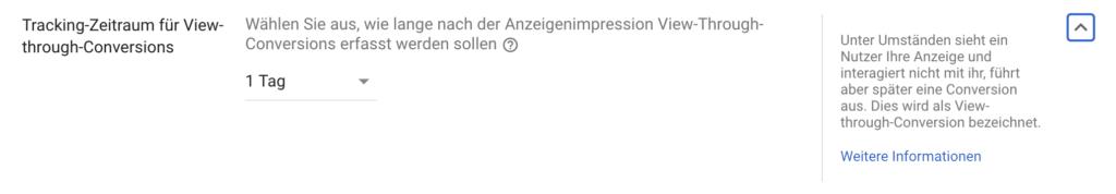 Tracking-Zeitraum für View-through-Conversions in Google Ads