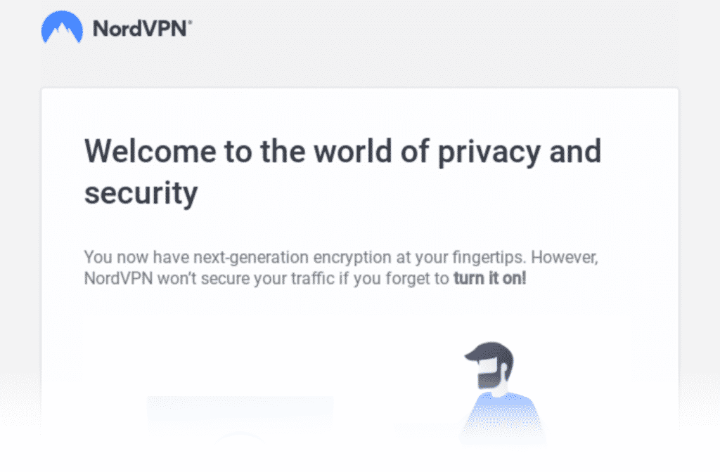 Automatisierte Willkommens-E-Mail von NordVPN